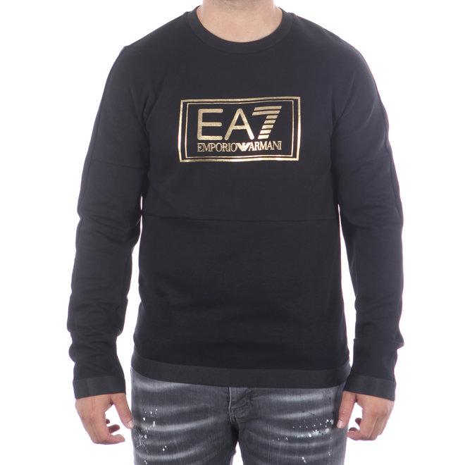 EA7 | Zwarte sweater met logo goud | 6HPM73 PJF3Z 1200