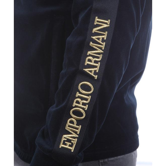 Emporio Armani | Fluweel vest met capuchon donkerblauw | 6H1M78 1JDPZ 0920