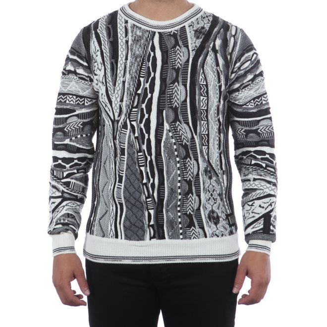 Carlo Colucci   Gebreide trui in zwart en wit   C9803 212