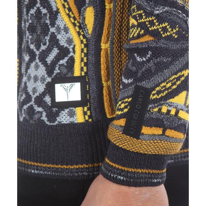 Carlo Colucci | Gebreide sweater in zwart en geel |C9803 211