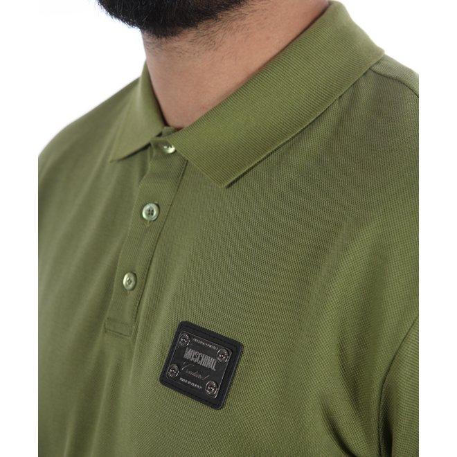 Moschino | Basic polo groen met metalen logo plaatje | A 1204 7042 413