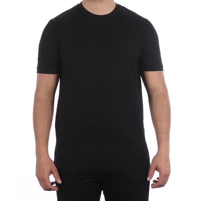 Emporio Armani   T-shirt 'Checked Jacquard' - Zwart