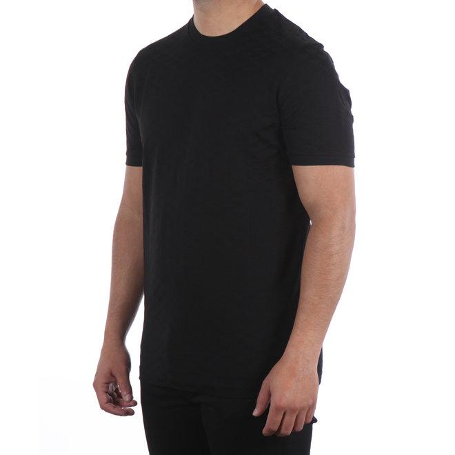 Emporio Armani   Zwart T-shirt met geruit Jacquard motief