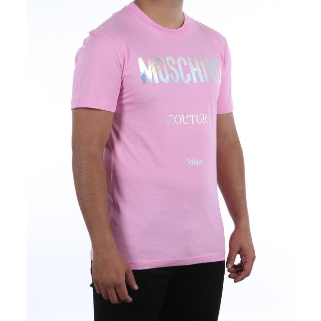 Moschino | Moschino Couture! roze  t-shirt met zilver logo