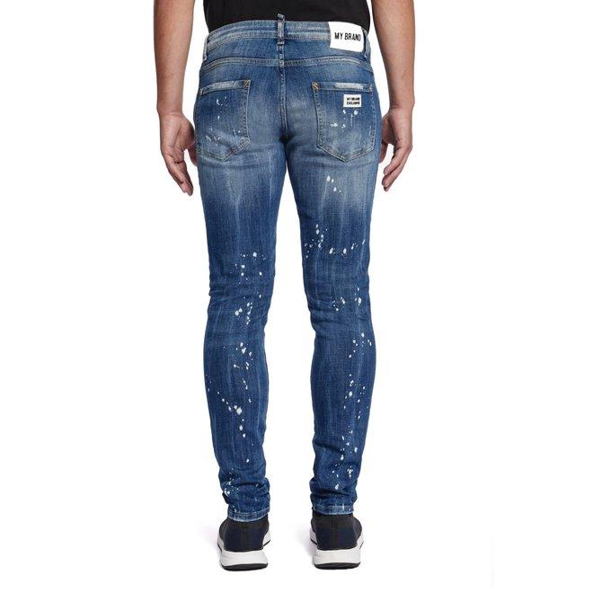 My Brand | Blauwe jeans met witte verfspetters