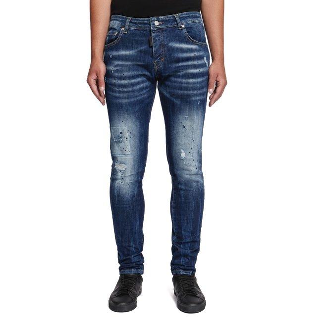 My Brand | Blauwe jeans met donkerblauwe verfspetters