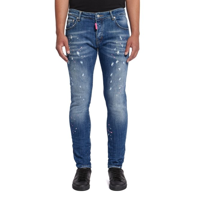 My Brand   Blauwe jeans met roze verfspetters