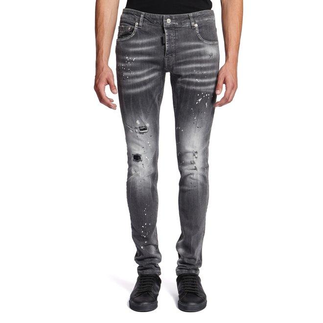 My Brand | Grijs gebleekte jeans met verfvlekken