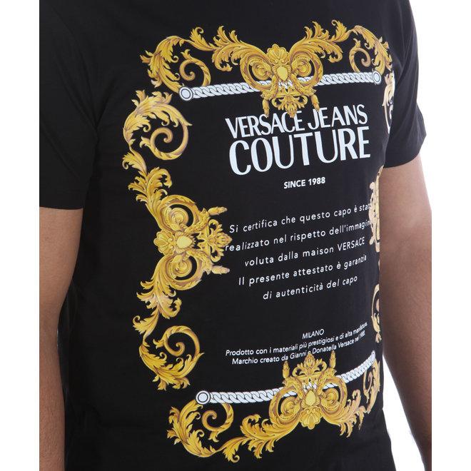 Versace Jeans Couture | Zwart T-shirt met Baroque logo print