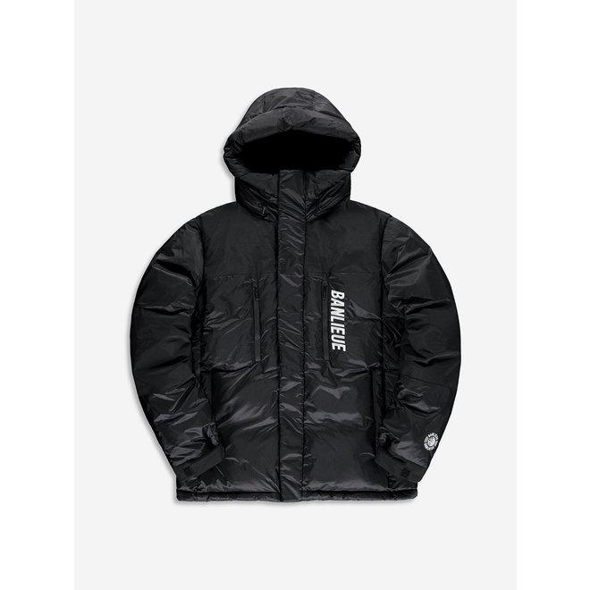Banlieue | Down Jacket Hood Solid Script |  Black