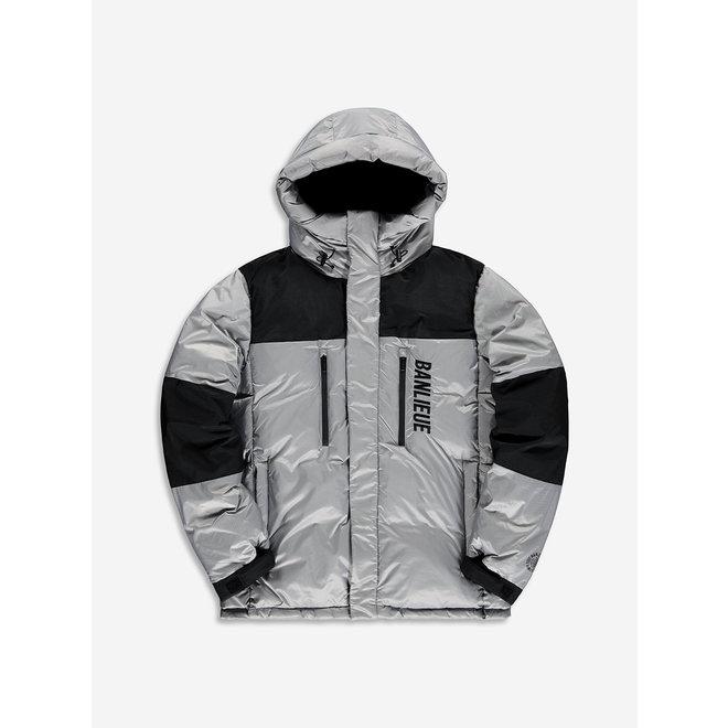 Banlieue | Down Jacket Hood Solid Script |  Grey