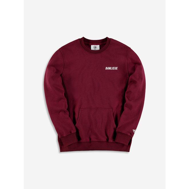 Banlieue | Sweater Crewneck TXT Script | Bordeaux rood