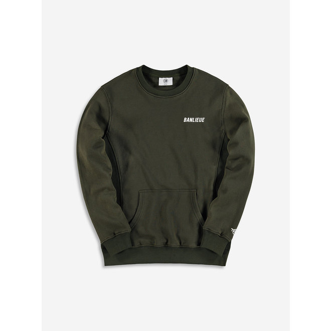 Banlieue   Sweater Crewneck TXT Script   Dark Green