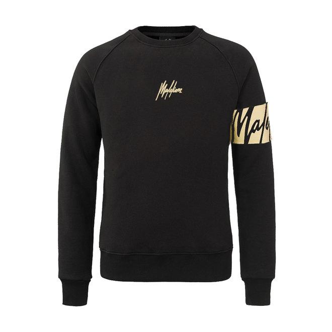 Malelions | Zwarte sweater met gouden captainband