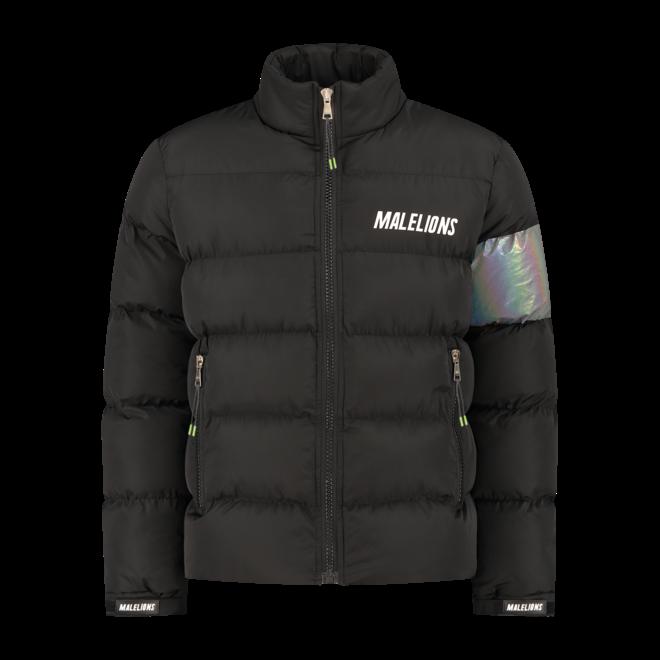 Malelions | Zwarte, reflecterende Puffer jas