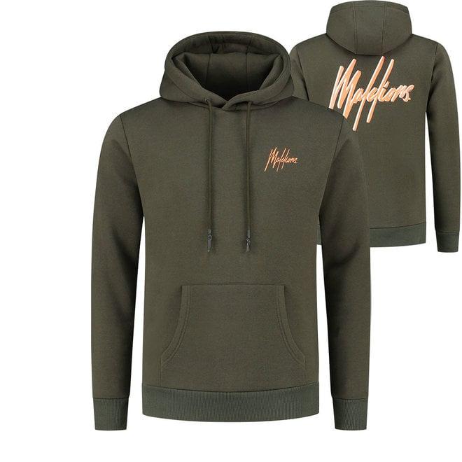 Malelions | Double Signature Hoodie  | Army / Orange