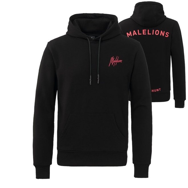 Malelions | Hoodie 'Joint the hunt' | Black / Neon Red