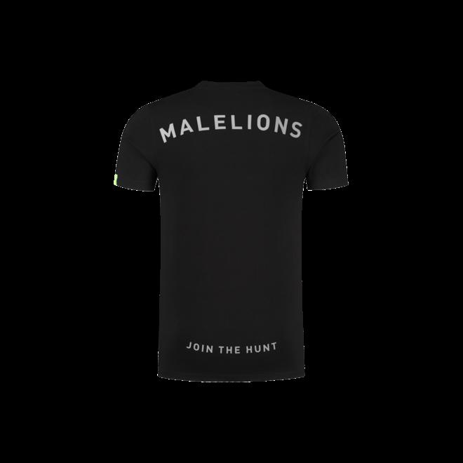 Gyzo t-shirt met logo | Zwart / Neon geel | Malelions