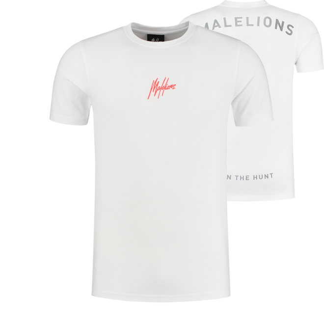 Malelions   Gyzo t-shirt met logo   Wit / Neon rood