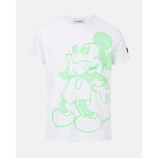 T-shirt Mickey Mouse | Wit / Neon groen | Iceberg