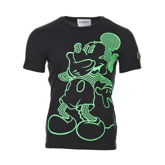T-shirt Mickey Mouse   Zwart & Neon Groen   Iceberg