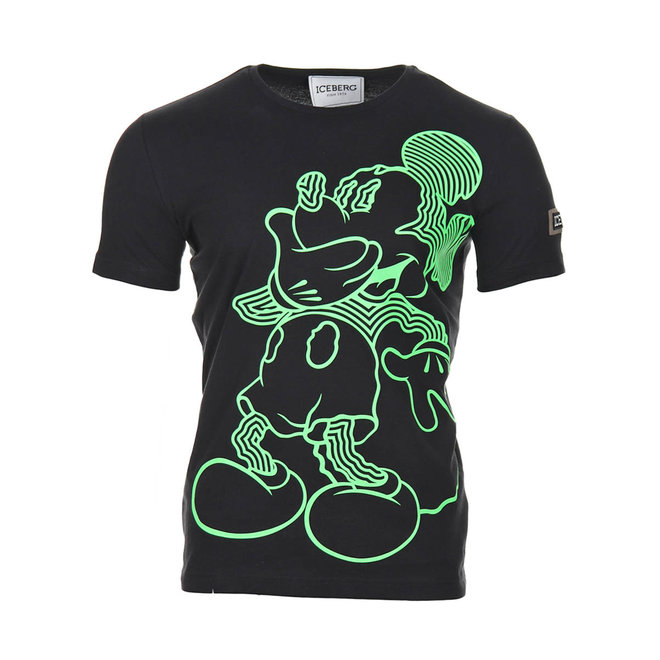 Iceberg   T-shirt with fluor-green Mickey Mouse   Black