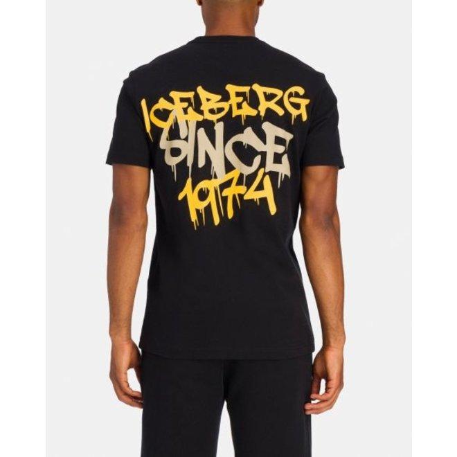 T-shirt 'Painted Style' | Zwart | Iceberg