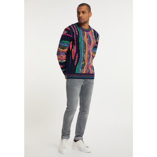 Carlo Colucci | Jacquard Sweater | Navy / Pink