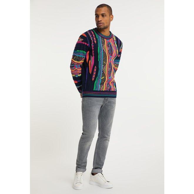 Sweater | Donkerblauw  / roze | Carlo Colucci