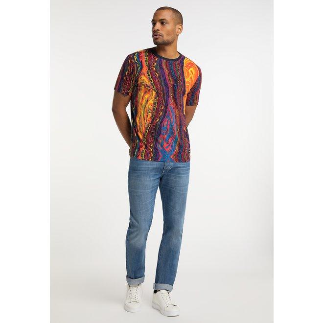 Carlo Colucci   T-shirt   Donkerblauw / Multicolor