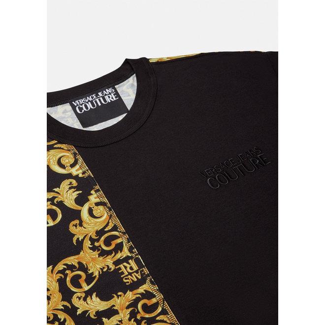 Logo Baroque T-shirt | Zwart / goud | Versace Jeans Couture