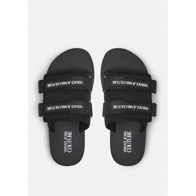 Logo Strap Slippers | Zwart | Versace Jeans Couture