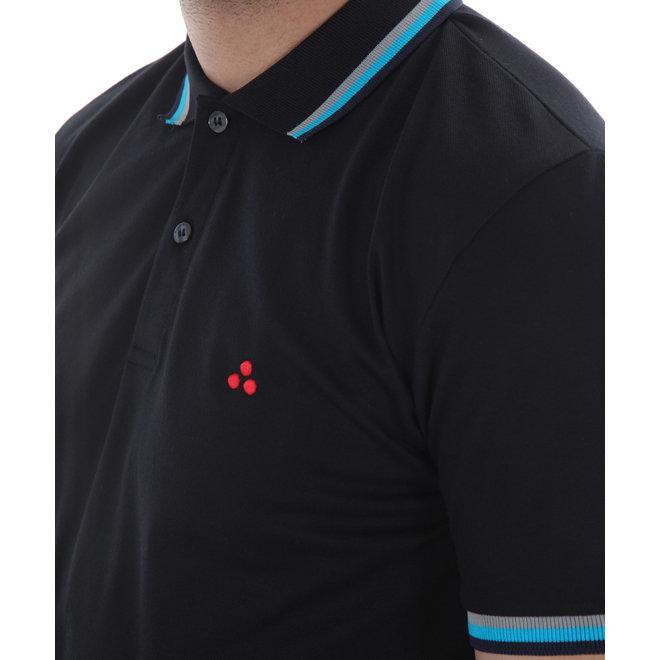 Polo | Zwart met grijs/blauwe randen | Peuterey