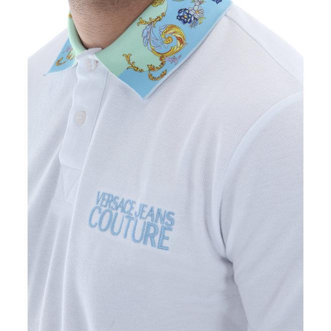 Polo met print op kraag | Wit / Licht blauw | Versace Jeans Couture