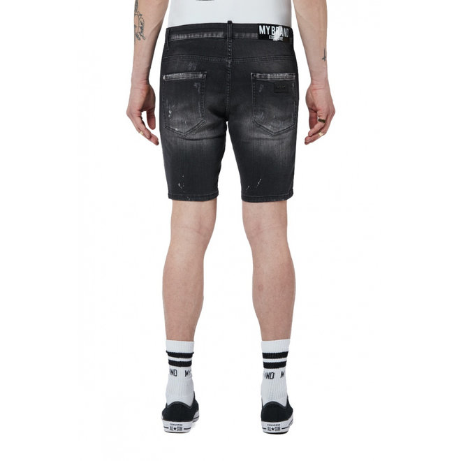 Denim Distressed Short   Zwart   My Brand