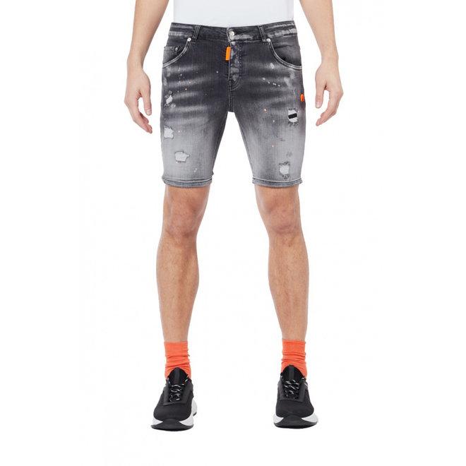 My Brand | Denim Grey Neon Orange Spotted | Grey / Neon Orange
