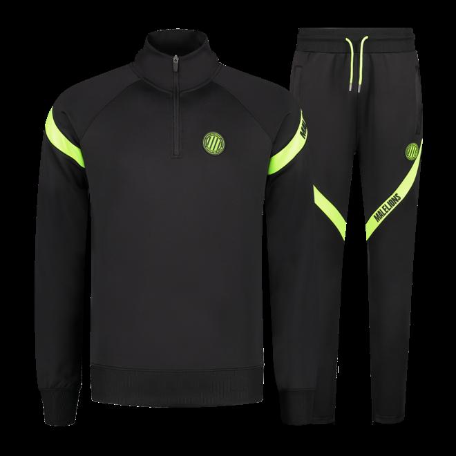 Malelions Sport | Pre-Match Quarterzip | Black / Neon Yellow