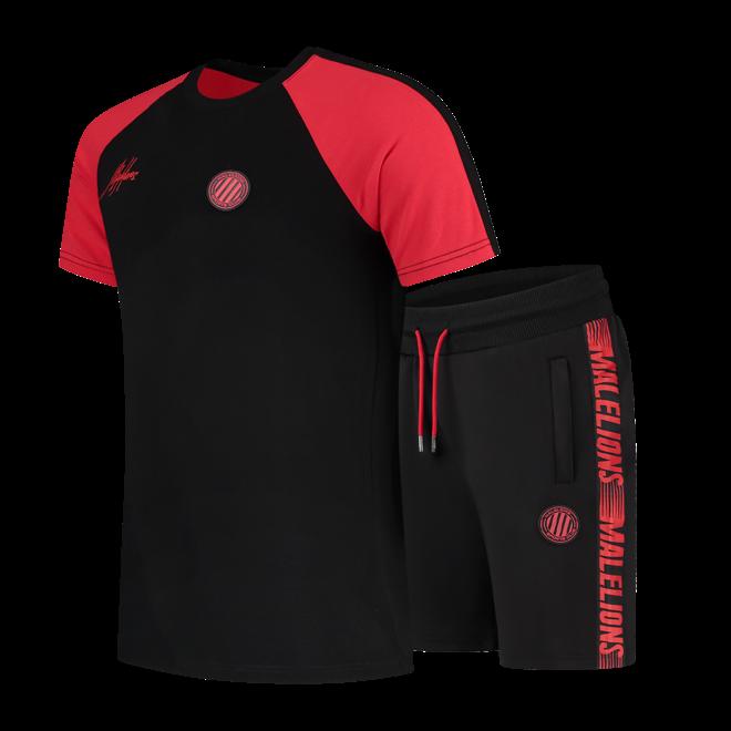 Malelions Sport | Striker Tracksuit Short | Black / Neon Red