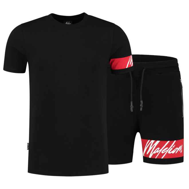 Malelions | Captain T-shirt & Short | Black / Neon Red
