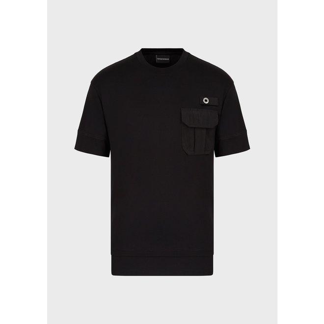 Emporio Armani | Tencel t-shirt met zak | Zwart