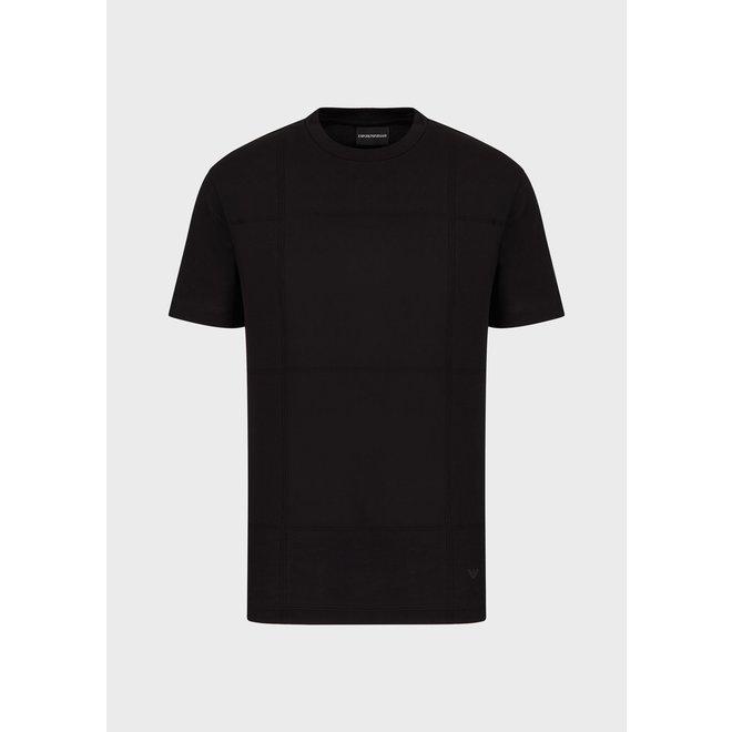 Jersey T-shirt met Jacquard-Plaid motief | Zwart | Emporio Armani