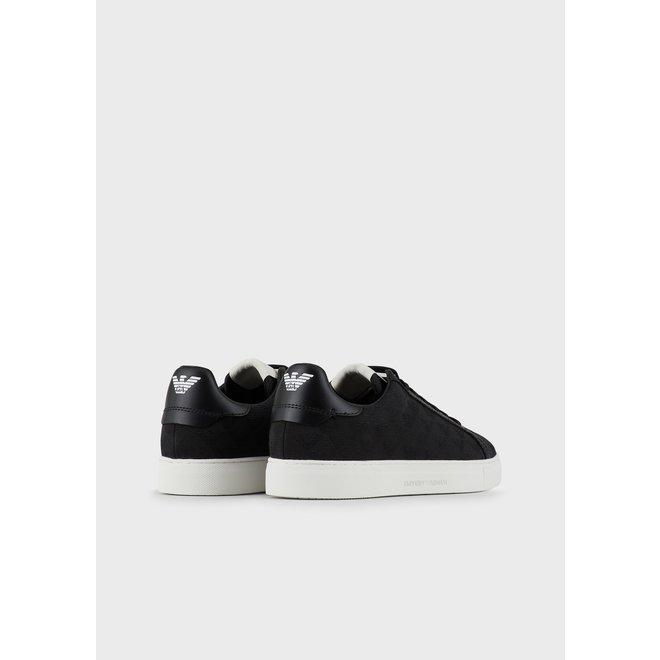 Jacquard Monogram Sneakers | Zwart | Emporio Armani
