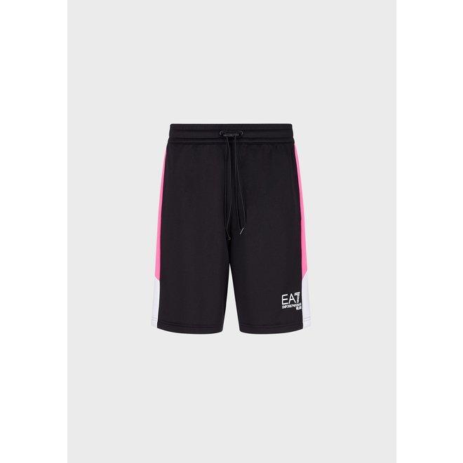EA7   Color Block Fleece Shorts   Zwart / Roze