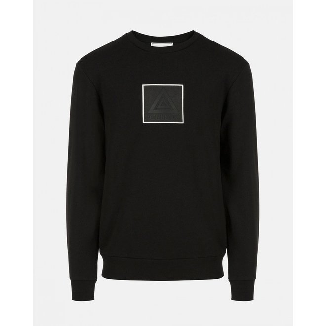 Zwarte Crewneck Sweater met rubber patch   Iceberg   Zwart