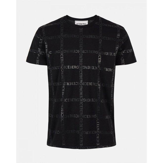 Iceberg   T-shirt allover Iceberg Check Pattern   Zwart