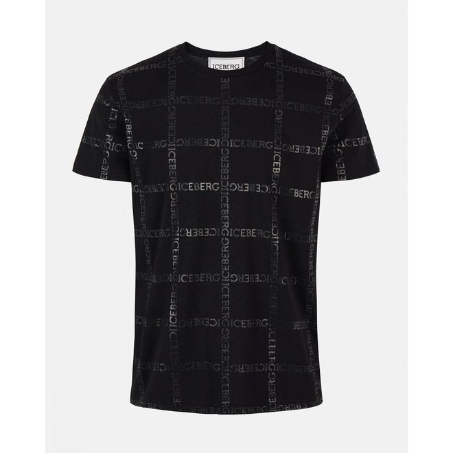 Zwart Iceberg t-shirt met allover check print