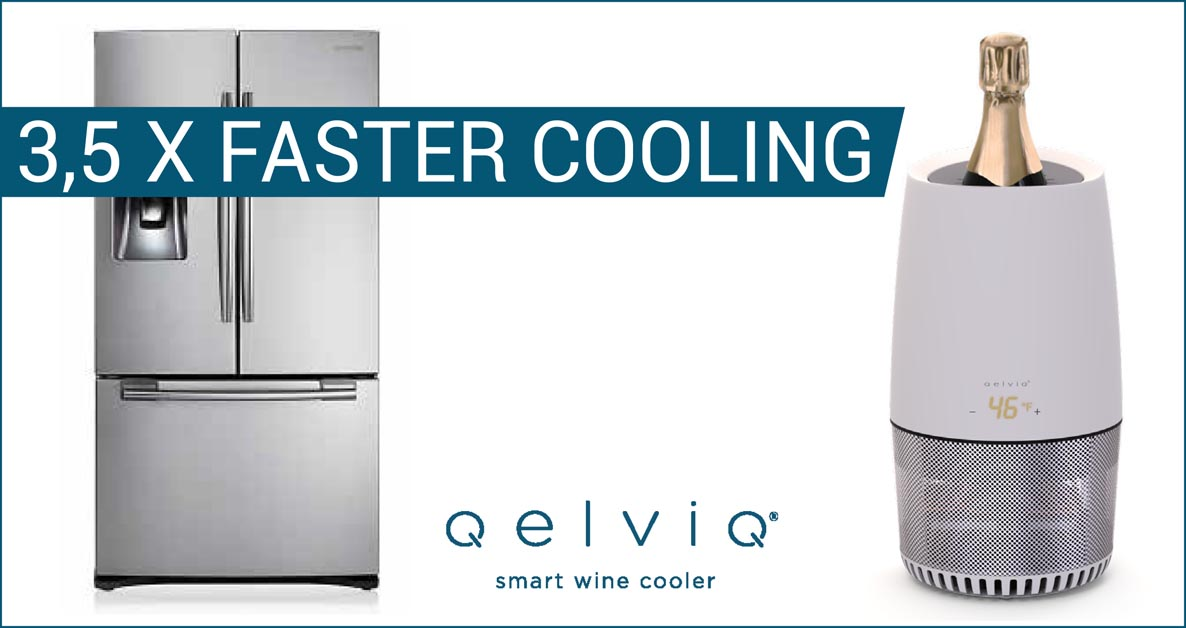 The wine cooler cools 3,5x faster than an average refrigerator.