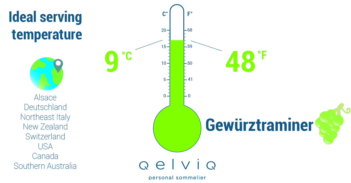 The ideal serving temperature for wine made of the Gewürztraminer grape.