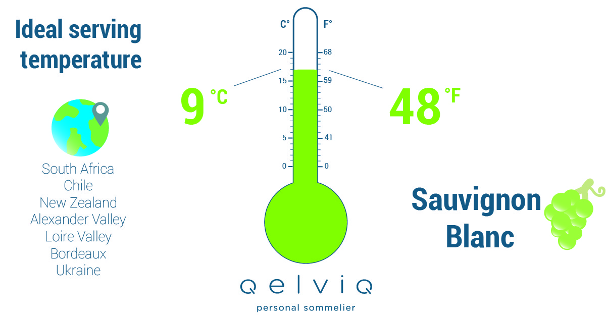 The ideal serving temperature for wine made of the Sauvignon Blanc grape.
