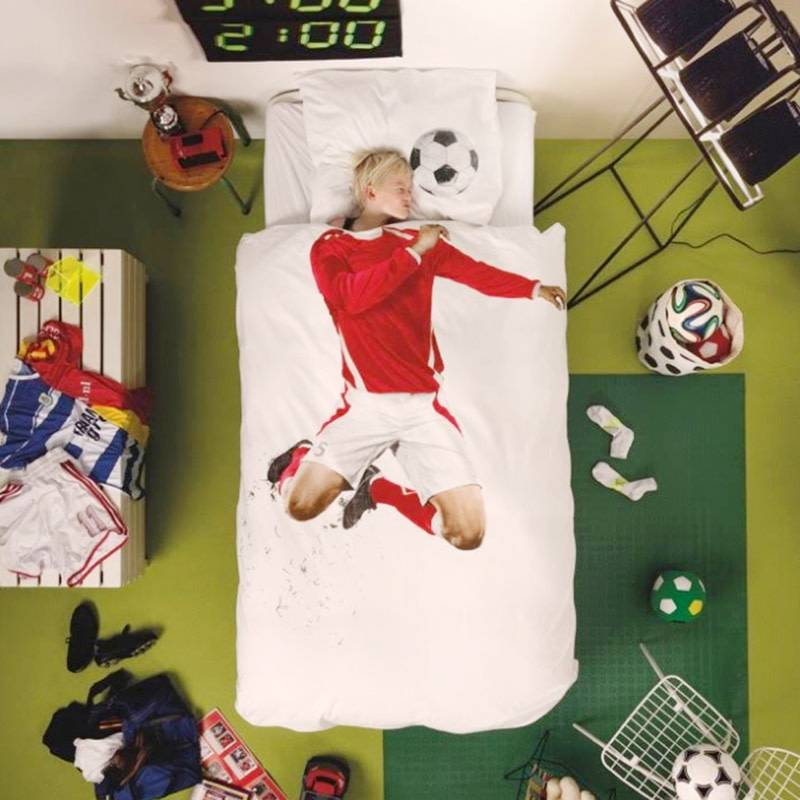 SNURK beddengoed Housse de couette football (rouge, 1p)